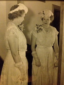 She made that dress for my grandmother's wedding! According to Mom it was a light blue.