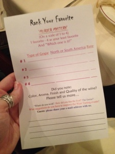 """Here's a close-up of our """"Tasting Sheets"""""""