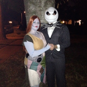 Here we are as Jack and Sally from The Nightmare Before Christmas!