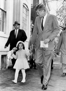 And the best Daddy: President-elect Kennedy walks with his daughter Caroline on their way to church services on her third birthday. Afterwards Kennedy went to Georgetown Hospital to visit his wife and their new-born son. Washington, D.C.:  November 27, 1960 (Photo by Underwood Archives/Getty Images)