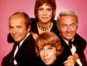 The Carol Burnett Show's most prominent cast members: Vicki Lawrence, Harvey Korman and Tim Conway