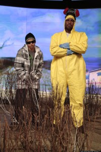 """Breaking Bad"" has been an appropriately popular theme this year, and they both look great! Kelly as a dude is hysterical."