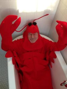 In case you haven't already been blessed by this fantastic photo of Sir Patrick Stewart in a bathtub dressed as a giant lobster, here you go.