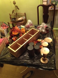 All the things! Wooden Napa Valley wine box, faux-grapes, faux-flowers, various candle holders, ribbon, glitter pumpkins and HOT GLUE!
