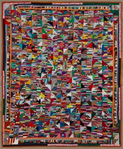 Mary A. Stinson (American), Crazy Quilt, circa 1880, Silk, 81 ¼ x 81 ⅝ in. (206.4 x 207.3 cm) Brooklyn Museum, Designated Purchase Fund, 1995.87, Brooklyn Museum photograph (Gavin Ashworth, photographer), 2012