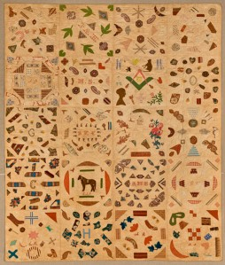 Pictorial Quilt circa 1840, Cotton, cotton thread, 67 ¾ x 85 ½ in. (172.1 x 217.2  cm), Brooklyn Museum, Gift of Mrs. Franklin Chace, 44.173.1, Brooklyn Museum photograph (Gavin Ashworth, photographer), 2012