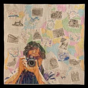 """Photographer Darling"" by Noriko Nozawa is winner of the $5,000 Fairfield Master Award for Contemporary Artistry at the 2013 International Quilt Festival Houston"