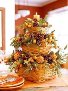 LOVE the idea of layered baskets! Matching or not, and as many tiers as you'd prefer, this is a great way to combine as many Fall-themed items as you'd like, while also keeping your centerpiece move-able.