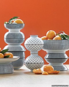 The super swank, likely vintage Chinese porcelain bowls may not be available to you (or anyone else except the 1%, however, you can easily display your pretty citrus in simple glassware for an equally attractive centerpiece!