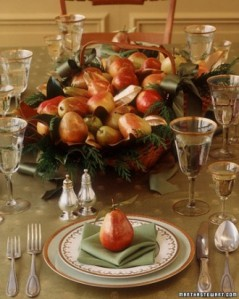 """These pears are """"gilded,"""" but would be just as attractive in their non-golden state, and if they're plastic/wax/not real, could easily become a Christmas centerpiece, too!"""