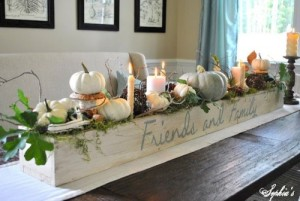 "A more ""rustic"" centerpiece, but it could be made smaller, or in different colors, making it a fabulous inspiration."
