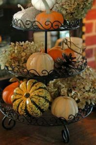 I love this tiered display! You can recreate this look with almost any combination of tiered cake stands, and Fall-themed combination of your choice!