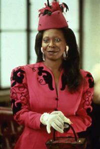 I love most of the costumes for Oda Mae, but this pink and black suit/hat combo is AMAZING.