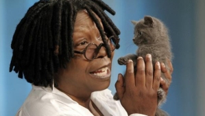 Whoopi AND a kitten!?! She's the best.