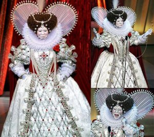 Looks pretty incredi-mazing as Queen Elizabeth I of England! WHOA.