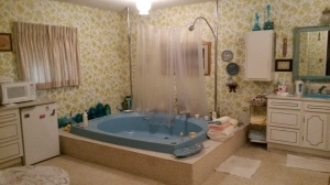 See?? They built their custom house in 1973, and two separate vanities, two closets and an enormous bathtub is what they decided. LOVE this. It was super fun as a kid, too!