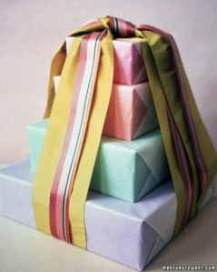 Wrap 75 small packages instead of one, then cover in 100 yards of ribbon! (This one could involve hot glue, which adds fun points.)