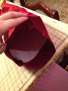 Here's the view of the inside of the sleeve before I slid in the pants extender.