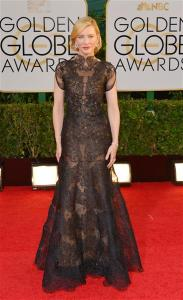 Cate Blanchett wore maybe the most beautiful black lace dress ever! The back was also completely stunning. Her hair and makeup completed the classic, old Hollywood glamour look, and it was perfect.
