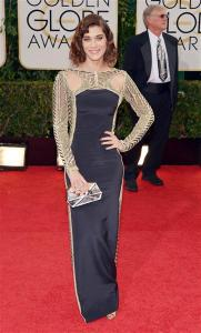 Another lady who slipped by for the majority of the evening, Lizzy Caplan wore a beautifully beaded gown!