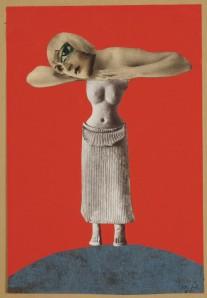 Ohne Titel (Aus einem ethnographischen Museum) (Untitled [From an Ethnographic Museum]), 1930, Collage, 48.3 x 32.1 cm, Museum für Kunst und Gewerbe, Hamburg Photo: courtesy of Maria Thrun