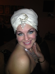 Close up of my fab turban and super fun makeup!