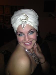 Close up of my fab turban and super fun makeup!
