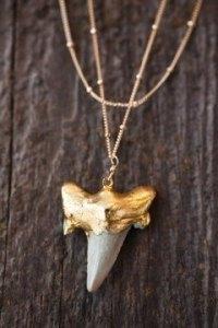 Super fancy, golden shark tooth necklace!