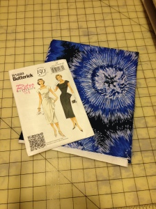 Here's the pattern, a vintage reprint from Butterick (B5880), and the crazy cotton fabric I found!